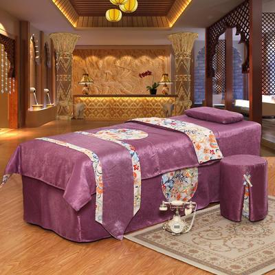 美容床罩四件套按摩理疗养生会所单人床床裙带洞定制床套 180x60方头圆头提前通知 豆沙色