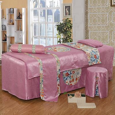 美容床罩四件套按摩理疗养生会所单人床床裙带洞定制床套 180x60方头圆头提前通知 粉紫色