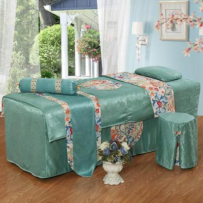 美容床罩四件套按摩理疗养生会所单人床床裙带洞定制床套 180x60方头圆头提前通知 湖蓝色