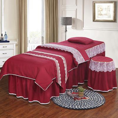 美容床罩四件套 高档艾灸养生理疗会所按摩床床罩床裙定制 其他尺寸定做+10元 酒红色