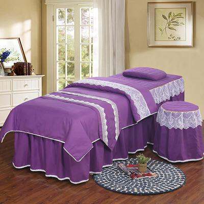 美容床罩四件套 高档艾灸养生理疗会所按摩床床罩床裙定制 其他尺寸定做+10元 紫色