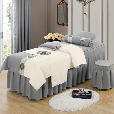 美容床罩四件套高档棉麻按摩床单理疗艾灸美体养生院单人床床裙 190x70方头五件套 灰色白面