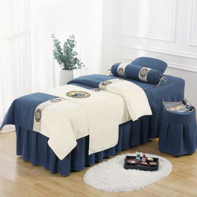美容床罩四件套高档棉麻按摩床单理疗艾灸美体养生院单人床床裙 190x70方头五件套 深蓝白面