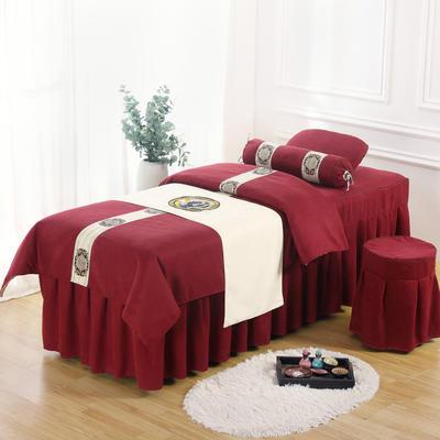 美容床罩四件套高档棉麻按摩床单理疗艾灸美体养生院单人床床裙 190x70方头五件套 酒红色