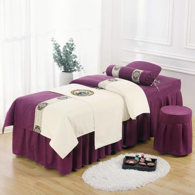 美容床罩四件套高档棉麻按摩床单理疗艾灸美体养生院单人床床裙 190x70方头五件套 红紫白面