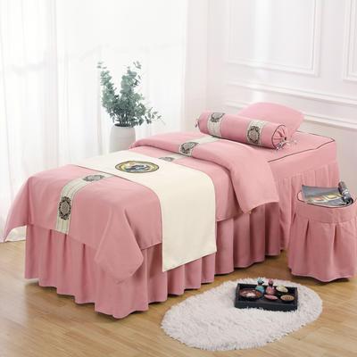 美容床罩四件套高档棉麻按摩床单理疗艾灸美体养生院单人床床裙 190x70方头五件套 红粉色