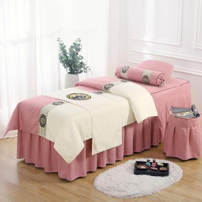 美容床罩四件套高档棉麻按摩床单理疗艾灸美体养生院单人床床裙 190x70方头五件套 红粉白面