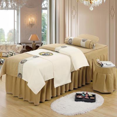 美容床罩四件套高档棉麻按摩床单理疗艾灸美体养生院单人床床裙 190x70方头五件套 金驼白面