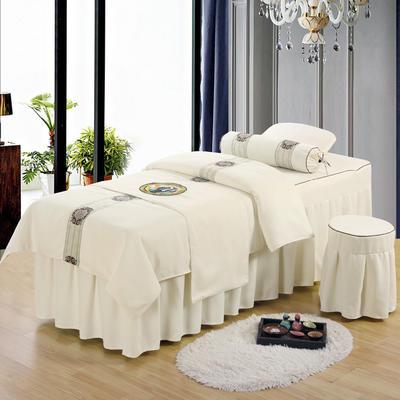 美容床罩四件套高档棉麻按摩床单理疗艾灸美体养生院单人床床裙 其他尺寸定做 奶白