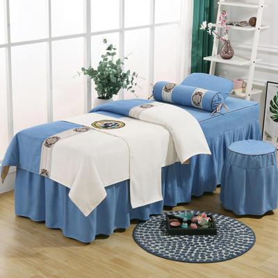 美容床罩四件套高档棉麻按摩床单理疗艾灸美体养生院单人床床裙 190x70方头五件套 天蓝白面