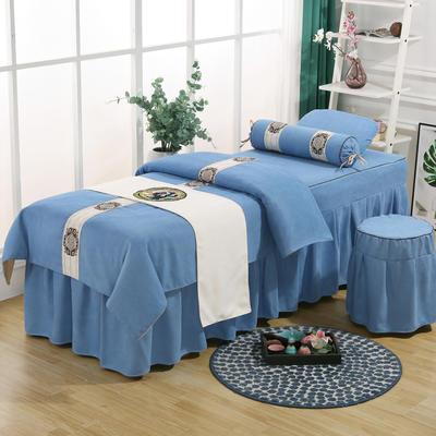 美容床罩四件套高档棉麻按摩床单理疗艾灸美体养生院单人床床裙 190x70方头五件套 天蓝色