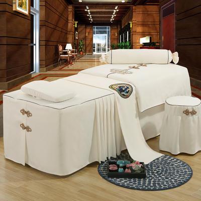 美容床罩四件套高档按摩养生理疗单人床床裙罩定制带洞 190x70方头五件套 白色