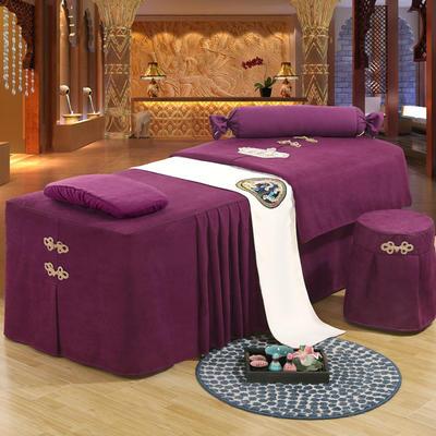 美容床罩四件套高档按摩养生理疗单人床床裙罩定制带洞 190x70方头五件套 紫色