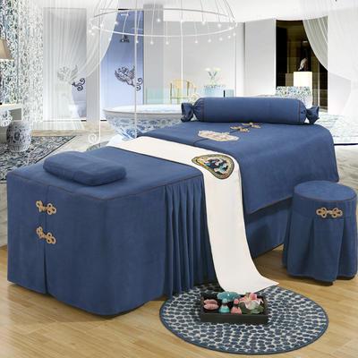 美容床罩四件套高档按摩养生理疗单人床床裙罩定制带洞 脚枕(糖果枕) 深蓝色