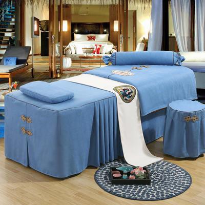 美容床罩四件套高档按摩养生理疗单人床床裙罩定制带洞 190x70方头五件套 水蓝色