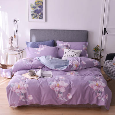 XIWEN-2019春夏新品13372全棉活性印花四件套 1.5m床 莱茵春色-紫