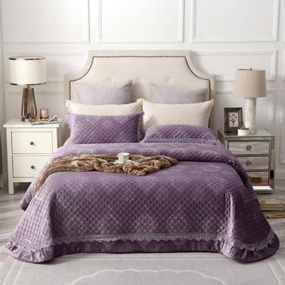 2019新款进口意大利绒床盖三件套普罗旺斯 245*245cm 普罗旺斯-魅惑紫