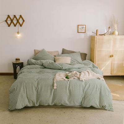 2019新款全棉水洗棉四件套 1.2m床单款三件套 草绿小格