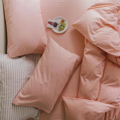 2020色织水洗棉基础款-纯色系列单枕套 48cmX74cm/只 初恋粉