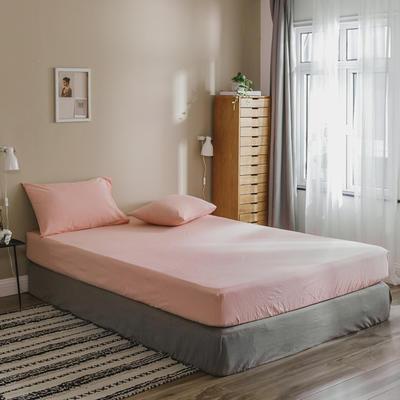 2020色织水洗棉基础款-纯色系列单床笠 120cmx200cm 初恋粉