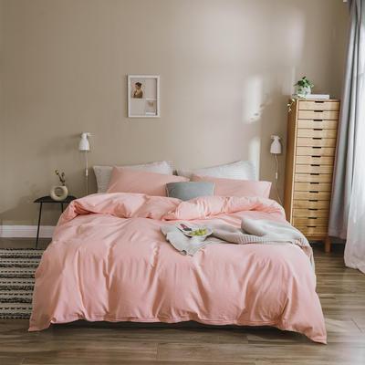 2020色织水洗棉基础款-纯色系列四件套 1.2m床单款三件套 初恋粉