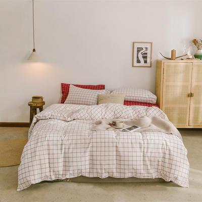 2020色织水洗棉基础款-大格系列单床单 160cmx230cm 初春