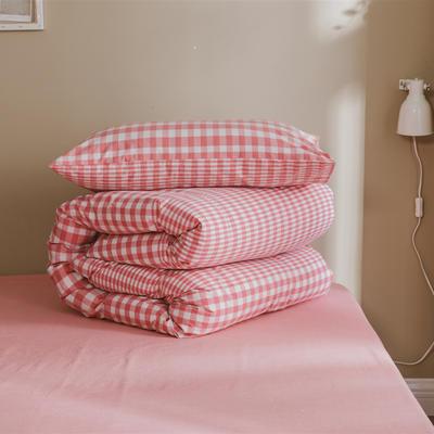 2020色织水洗棉基础款-渐变系列单枕套 48cmX74cm/只 渐变格粉