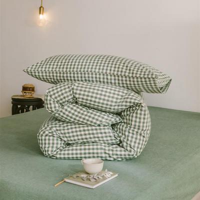 2020色织水洗棉基础款-小格系列单枕套 48cmX74cm/只 草绿小格