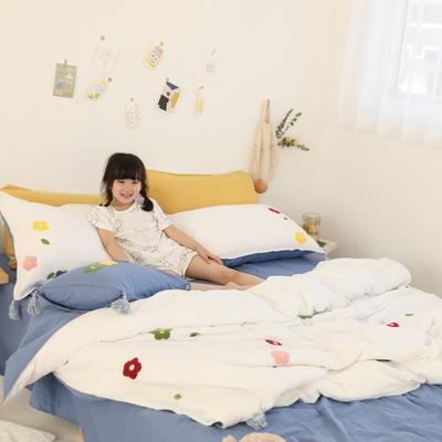 2019新款双层纱四件套-泫雅花 1.5m(5英尺)床单款 泫雅花
