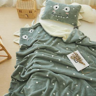 2019新款SWEET系列-被套毯 单枕套30*50 恐龙毯-豆绿