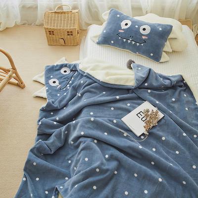 2019新款SWEET系列-被套毯 单枕套30*50 恐龙毯-海蓝