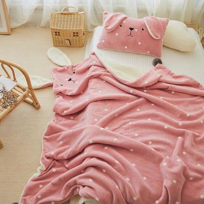 2019新款SWEET系列-被套毯 单枕套30*50 兔兔毯-豆沙