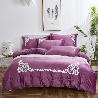 2019新款水晶绒四件套-宫廷风(角花) 1.8m(6英尺)床单款 紫色