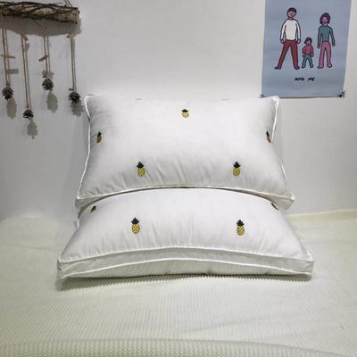 (总)2020爆款100%全棉枕头枕芯护颈椎助睡眠刺绣ins风小菠萝枕 ins风小菠萝