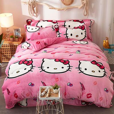 2018金貂绒四件套 1.5m(5英尺)床 粉色KITTY