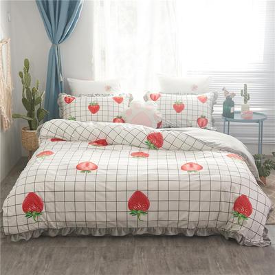 2019水晶绒数码印花韩版荷叶边四件套 1.2m床单款三件套 草莓格子