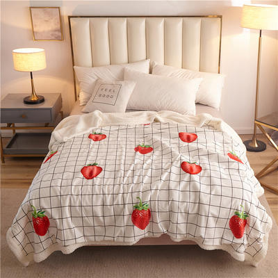 2019新款大版水晶绒羊羔绒多功能毯 单被套 100*150(带拉链) 草莓