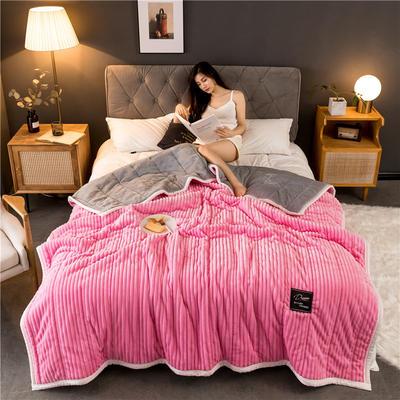 2019新款抽条绒加厚绗绣夹棉毛毯 150*200 粉色
