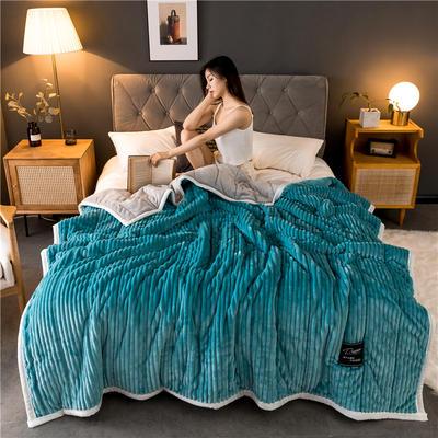 2019新款抽条绒加厚绗绣夹棉毛毯 150*200 绿色