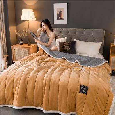 2019新款法兰绒加厚夹棉毛毯 100*150 驼色