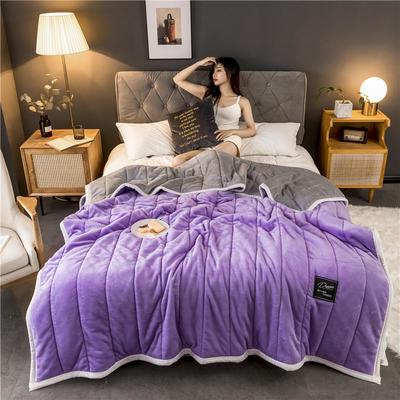 2019新款法兰绒加厚夹棉毛毯 150*200 紫色