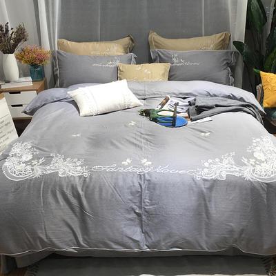 2018新款色纺纱轻拉绒色纺绣花四件套-米兰花香 1.8m(6英尺)床 高级灰