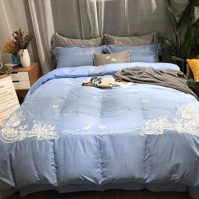 2018新款色纺纱轻拉绒色纺绣花四件套-米兰花香 1.8m(6英尺)床 蓝