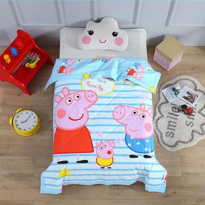 七彩童年 全棉儿童夏被 幼儿园午睡空调被120*150cm 羽丝绒棉花款夏凉被 120x150cm羽丝绒款 小猪条纹