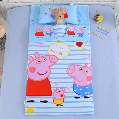 七彩童年 纯棉儿童睡袋防踢被 宝宝中大童加厚被子 大版13372全棉睡袋条纹佩琪 80*120cm睡袋套/不含芯