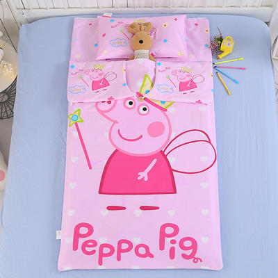 七彩童年 纯棉儿童睡袋防踢被 宝宝中大童加厚被子 大版13372全棉睡袋佩琪天使 80*120cm睡袋套/不含芯