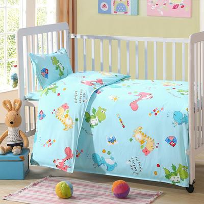 七彩童年 幼儿园被子三件套 儿童被子六件套纯棉13372婴童用品 丝绵款(6件套) 小恐龙-蓝