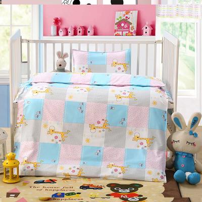 七彩童年 幼儿园被子三件套 儿童被子六件套纯棉13372婴童用品 三件套 长颈鹿蓝
