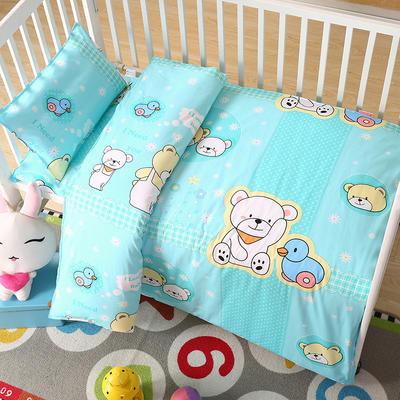 七彩童年 幼儿园被子三件套 儿童被子六件套纯棉13372婴童用品 三件套 小熊蓝