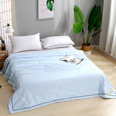 老染坊家纺 新款手包边压花蚕丝被 夏凉被空调被仿全棉纯棉蚕丝被夏被 180x220cm2.2斤 蓝色